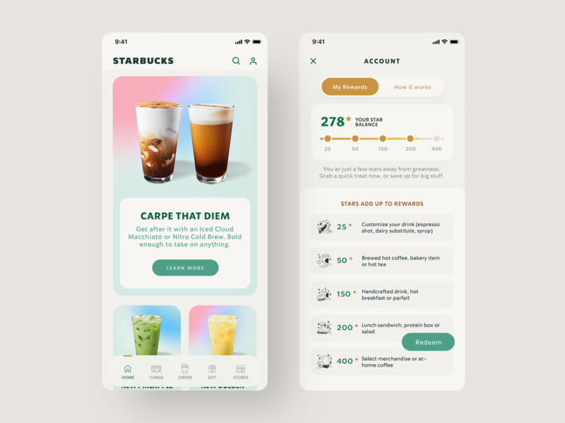 Starbucks - UX/UI Redesign ecommerce food drinks starbucks coffee mobile ui invitation reward navigation mobile app appdesign design tabs digital ux uidesign ui