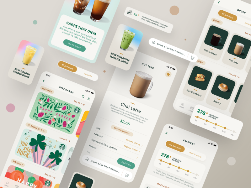 Starbucks Mobile App - UX/UI Redesign collect redesign web mobile app invite starbucks coffee foods drinks reward mobile bar app appdesign design tabs digital ux uidesign ui