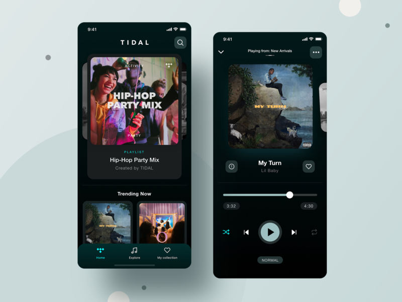Tidal Mobile App - UX/UI Redesign slider tidal spotify playlist player music player invite music listen free app mobile appdesign design tabs digital ux uidesign navigation ui