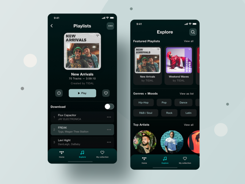 Tidal Mobile App - UX/UI Redesign 02 kit free invite browse spotify play music player music listen search app mobile appdesign design tabs digital ux uidesign navigation ui
