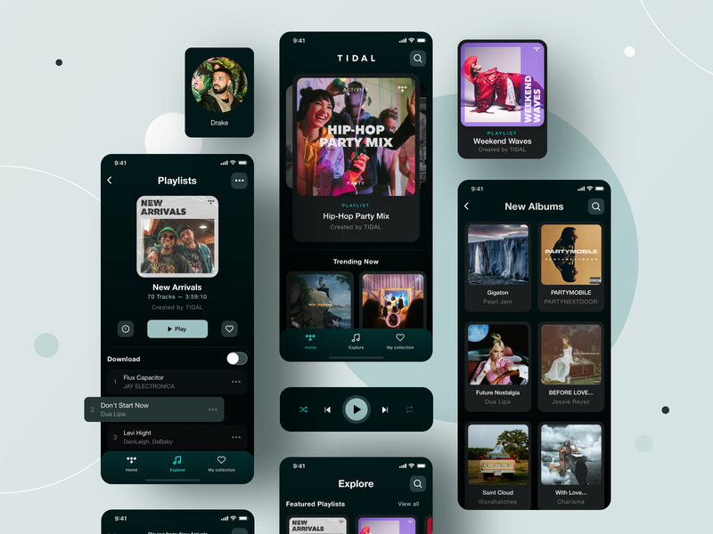 Tidal Music_Mobile App_Redesign mobile ui mobile app music player browse blog free kit listen music search mobile app appdesign design ux uidesign tabs digital navigation ui