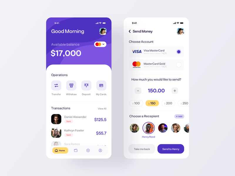 Money Transfer Mobile App - Send Money ux ui online bank mobile banking money management finance app finance dashboad money transfer banking mobile creditcard cart analytics transaction send money money app amount