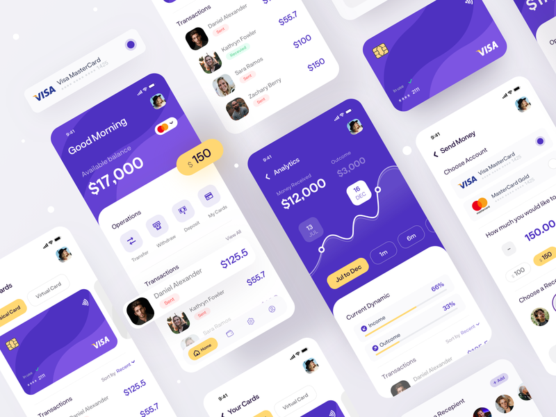 Money Transfer Mobile App transfer money app charts analytics finance app finance credit card cards bank card banking app mobile ui mobile app design uidesign digital ux tabs navigation ui