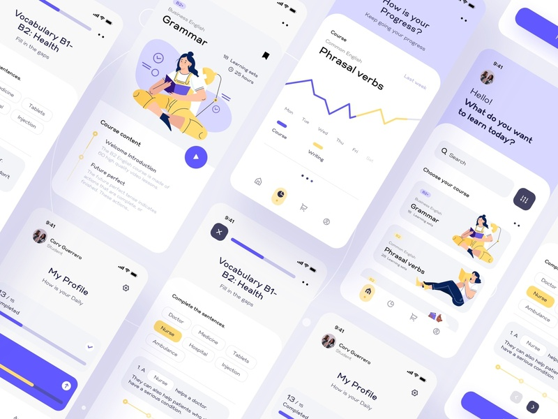 Learning Language Mobile App UI chart education english kit dashboard ui dashboad courses progress charts analytics study language learning app learning illustraion mobile app mobile dailyui tabs navigation