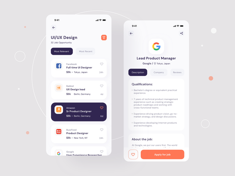 Job finder Mobile UI _ Job list apply job app uiux product homepage find jobs illustration navigation tabs ux filter lists application job finder mobile uiux app mobile ui search bar screens
