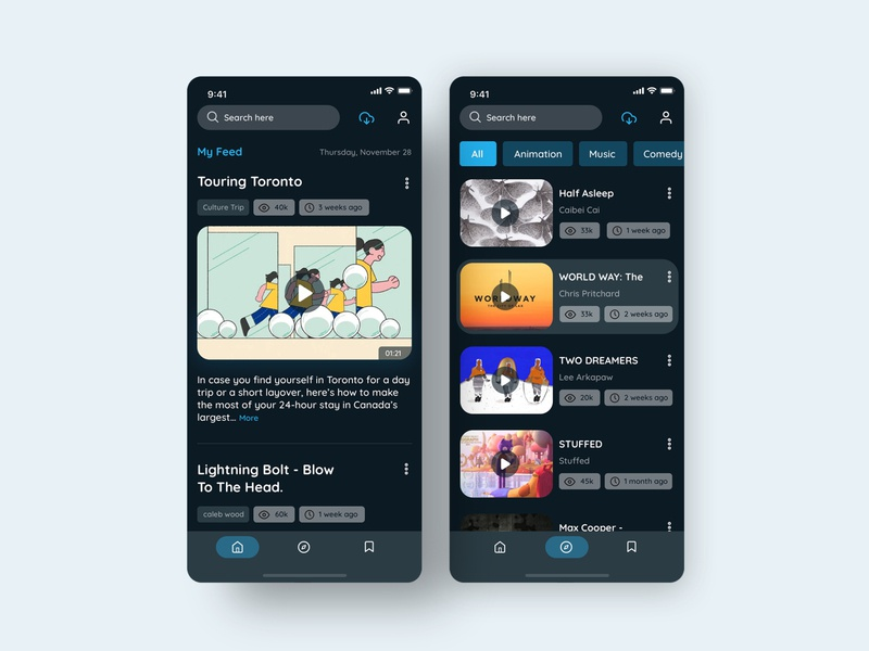 Vimeo Mobile App _ Redesign profile streaming app movie search results ux library category dark ui vimeo header tabs navigation upload explore feed streaming video search uidesign ui