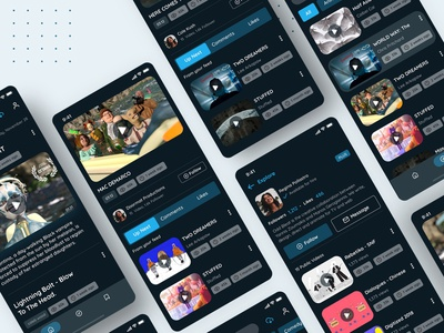 Vimeo Mobile App _ Redesign 03 invite upload play animation mobile dark theme video streaming website search bar experience tabs design navigation digital ux uidesign ui