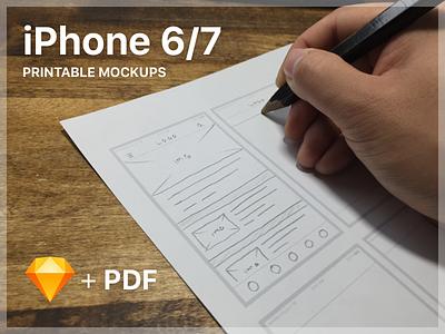iPhone 6/7 Printable Mockups wireframe printable mockup iphone 7 iphone 6 sketch file