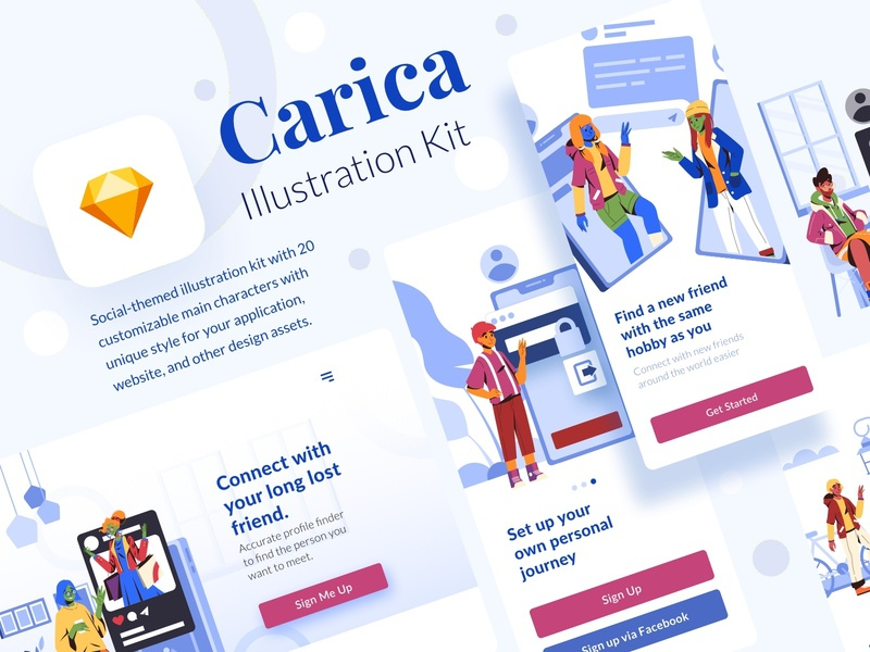 Carica Illustration Kit socialmedia friensdhip dating social application mobile people internet web ui vector character design illustration