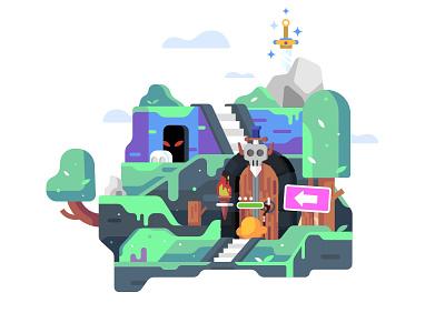 Action Game Illustration mmorpg dungeon action branding art internet web character design illustration