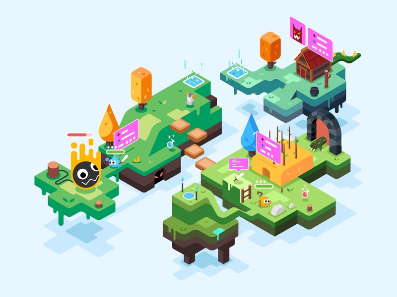 Action Game Illustration console admix 3d concept isometric mmorpg action game internet character design illustration
