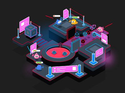 VR Game Illustration design art vector web isometric illustration digital isometric character illustration