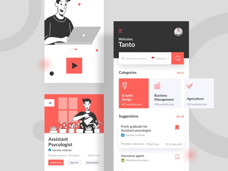 Job Finder Apps app people vector web character illustration internet opportunity profession work mobile ux ui finder job
