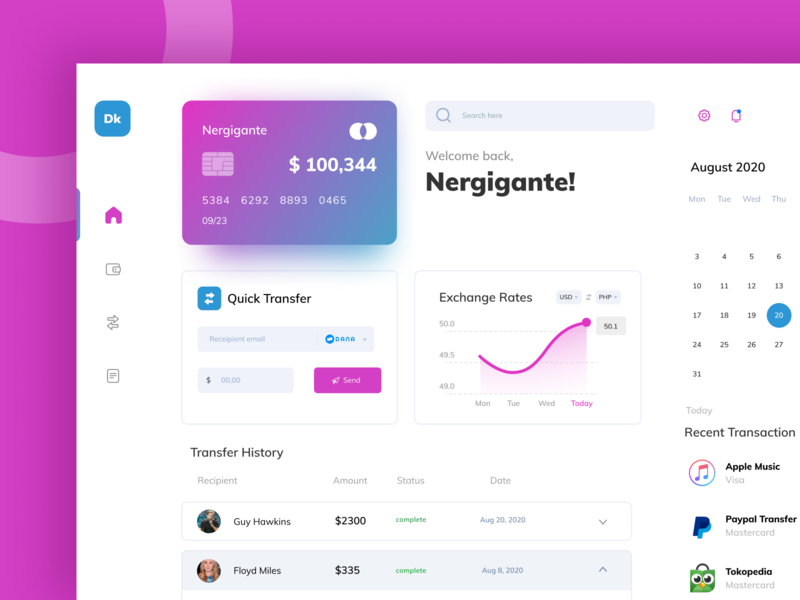 Finance Dashboard ui design transfer manage banking digital ewallet money finance ux ui dashboad