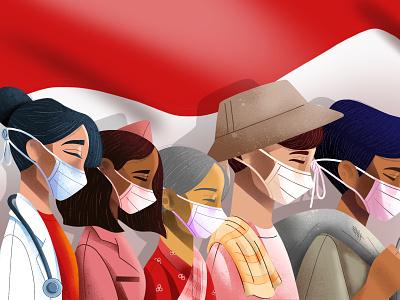 Dirgahayu RI ke-75 procreate kemerdekaan indonesia merdeka independence independenceday people character illustration