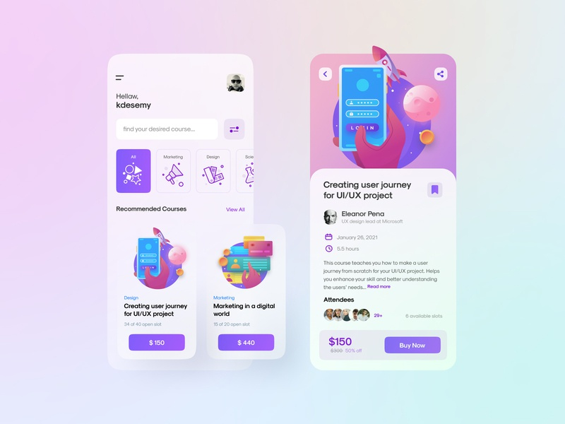 Online Course Finder Exploration Design product design uiux ui design school study icons clean finder e learning lesson course internet mobile application