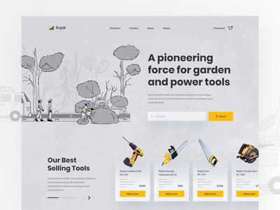 Power Tool Landing Page Exploration above the fold website design ui landing page procreate utensil garden tools fireman saw illustration force power tool