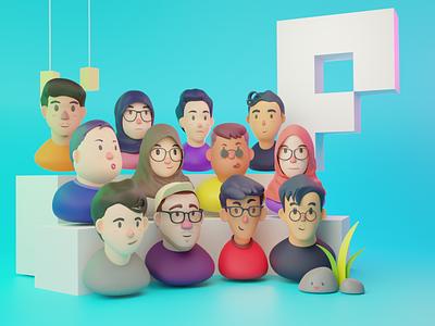Pixelz 3D Avatar blender avatar icons avatar design team illustration 3d profile avatar
