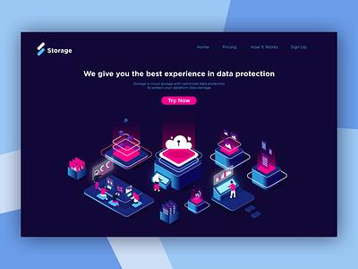 Cloud Storage Landing Page Exploration isometric web design data cloud hosting storage cloud service cloud storage web ux ui uiux design illustration