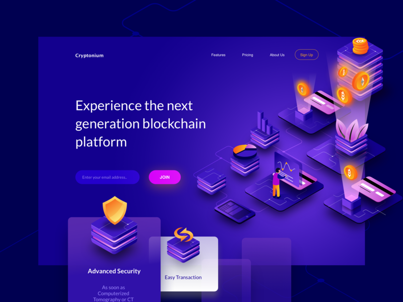 Cryptonium Cryptocurrency Hero mining wallet ethereum bitcoin coin security payment header isometric landing blockchain currency crypto hero illustration