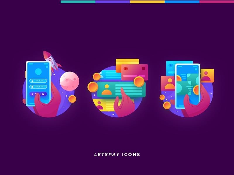 Letspay Illustrated Icons money transfer money icon logo bitcoin crypto vector app web ux ui design illustration