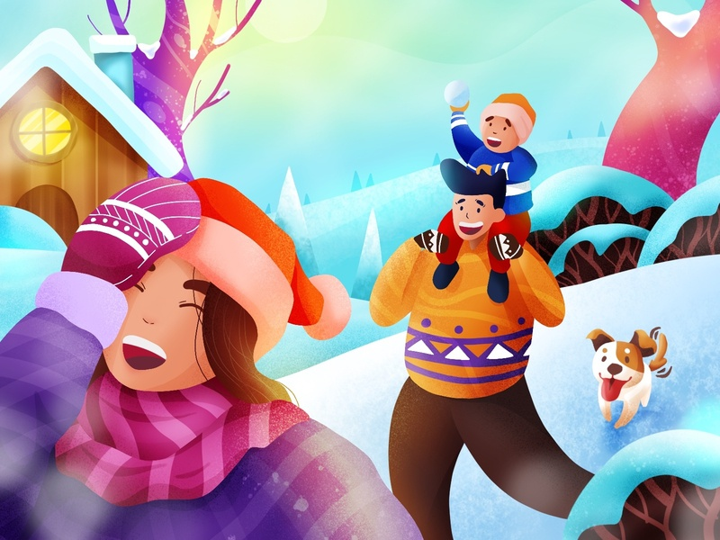 Festive Season Illustration fun design dog children kids dad mom holiday snow family happy illustration