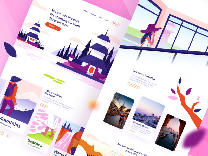 Vacation Trip Landing Page place people landing page landingpagedesign page landing flat trip planner tripadvisor holiday vacation trip art character vector web ux ui design illustration