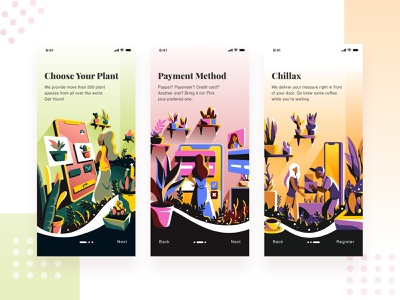 Plant Shop E Commerce sketch vector character shipment payment booking nature ux uiux ui onboarding business apps app plant ecommerce illustration design application