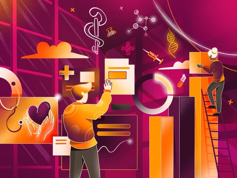 Medical Dashboard Illustration hospital checkup statistic data header hero ux-ui ui dashboard medicine medical medic internet people art web vector character design illustration