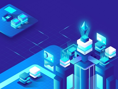 Cryptocurrency Hero Landing Page Illustration