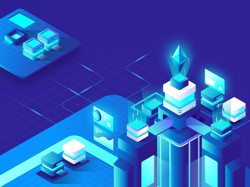 Cryptocurrency Hero Landing Page Illustration vector mobile e-money design e-wallet internet exchange isometric payment wallet ethereum bitcoin illustration