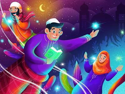 Ramadhan Kareem blessing quran procreate ipad design character illustration islamic moslem islam fasting holy ramadhan