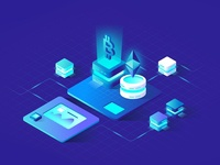 Cryptocurrency Isometric Illustration