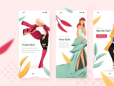 Apparel Management Apps clean design ux ui layout model character onboarding application modern outfit glamour style fashion illustration