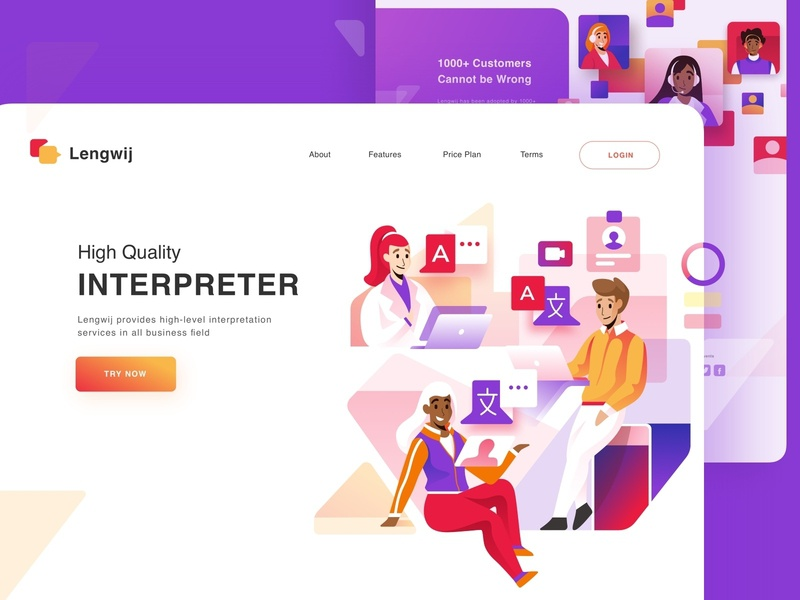 Interpreter Landing Page patent legal professional business social software service hero web design landing page translate translation interpreter languages language internet character ui design illustration