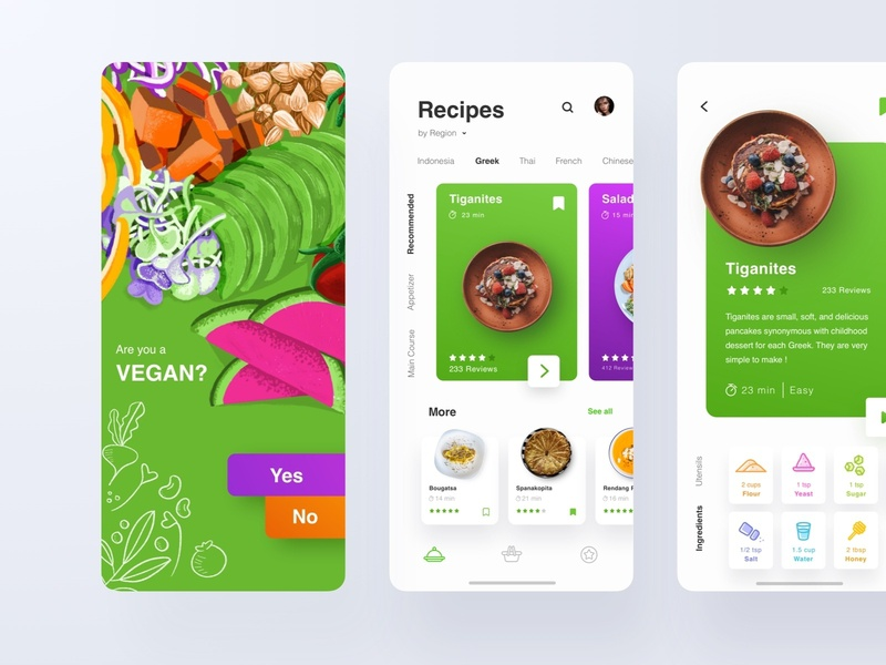 Food Recipe Apps lifestyle healt healthy vegan food app food and drink mobile ux apps recipe food ui design