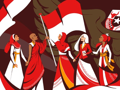 Unity procreate unity tolerancy religion character design character art vector design 74 flatdesign independenceday nationality illustration merdeka indonesia