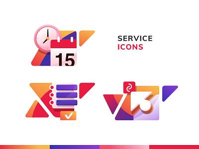 Service Icons checklist compatibility schedule design icons pack logo menu service illustration
