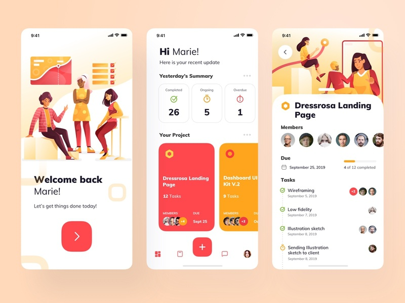 Task Management Apps onboarding app design management manage teamwork task internet web vector design illustration character application design mobile app application ui