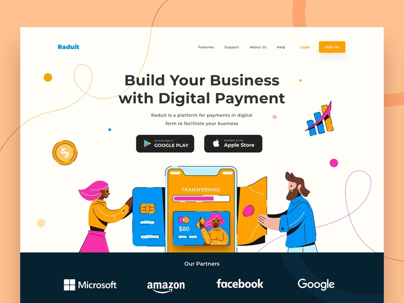 Raduit Digital Payment Hero transaction emoney digital wallet payment people internet web ui vector character design illustration