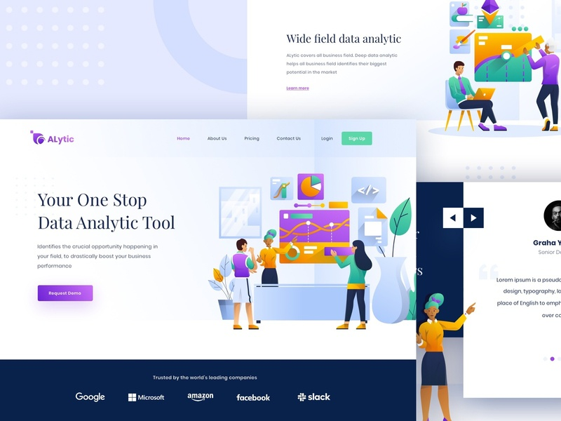 ALytic Landing Page digital business dailyui landing page kit analytic data character design illustration ux internet web ui