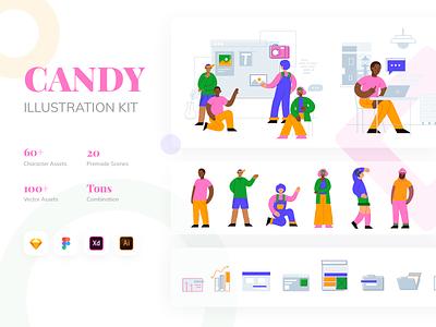 CANDY Illustration Kit mobile people art web candy ux ui modular ui8net ui8 design character design character kit illustration