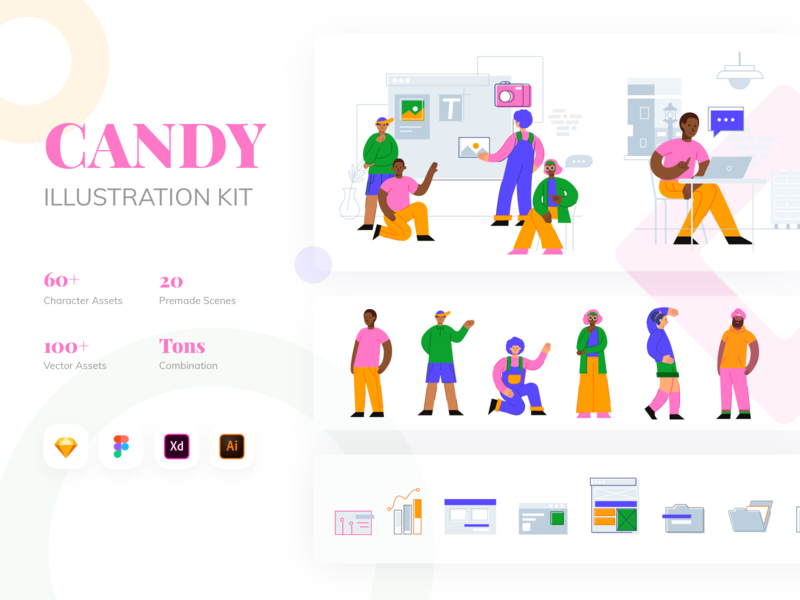 CANDY Illustration Kit mobile people art web candy ux ui modular ui8net ui8 design character design character kit illustration