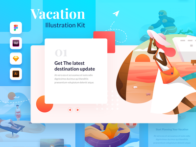 Plesir! Vacation Illustration Kit trip travel apps onboarding mobile people art ux web ui vector ui8 holiday vacation set kit illustration
