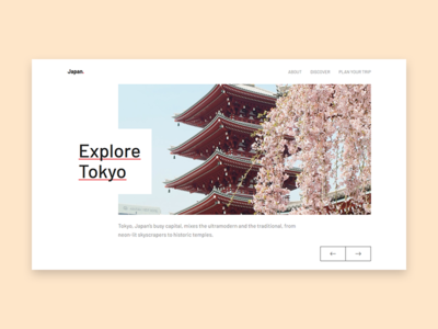 Travel tourism travel javascript flexbox css grid slider japan clean web design