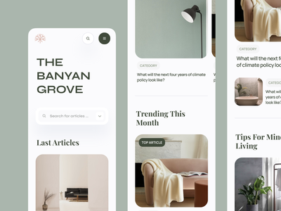 The Banyan Grove Blog Mobile minimal interface typography blur category interior startup service product web blog post cards feed ux ui article mobile blog