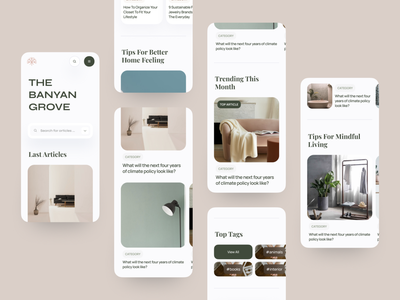 The Banyan Grove Mobile View mobile tag post search header hero typo service blog article logo design cards branding web product interface clean minimal blur