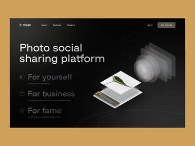 Stage Social Photo Sharing platform social features menu items landing web card cards glass typo logo noise header service illustration glassmorphism photo ios app