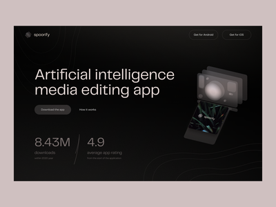 Spoorify page hero waves logo background abstract number typo layout layers glassmorphism glass illustration android ios download artificial intelligence ai edit media app web