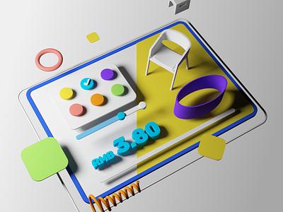 Custom furniture color C4D design 3d custom